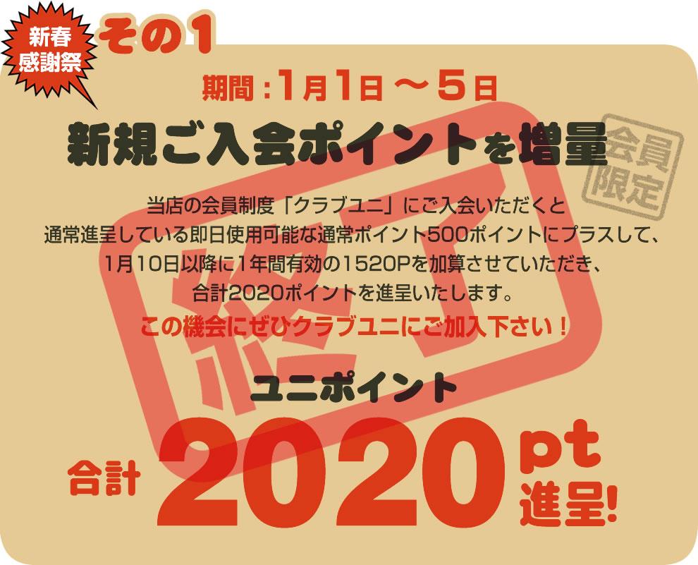新春5日間限定!2020ポイントプレゼント
