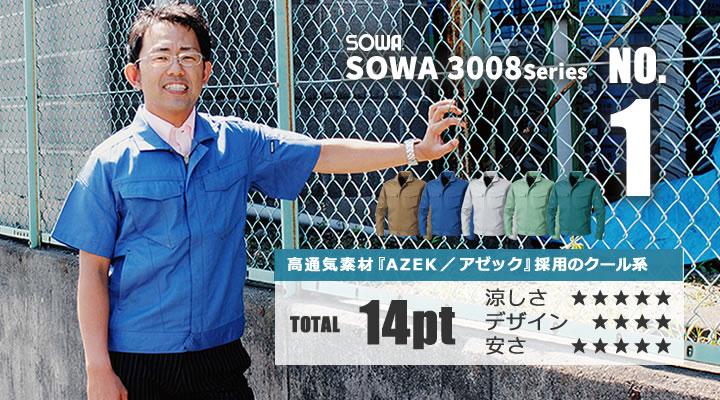 桑和のアゼック生地を採用した夏向きワークウェア3008シリーズ