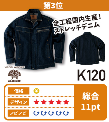 高品質な国内生産が魅力の柔らかストレッチ性デニムの旭蝶鎧ワークスK120シリーズ